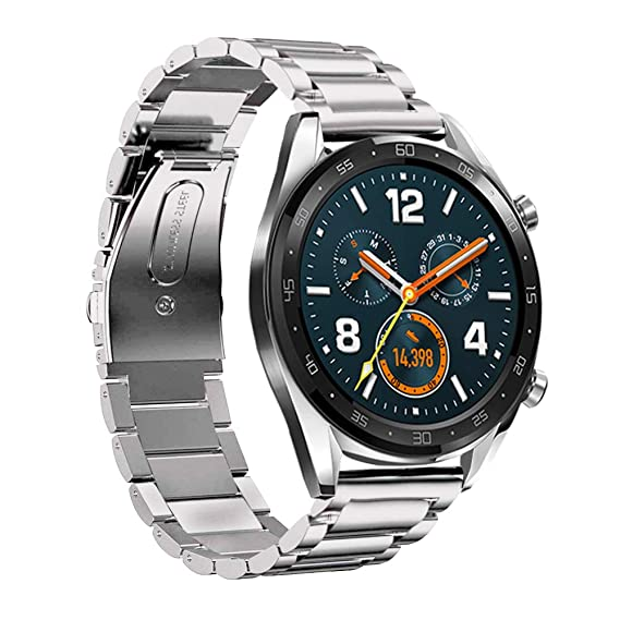 LeafBoat Compatible Huawei Watch GT Band, 22mm Adjustable Classic Wristband Bracelet Stainless Steel Band for