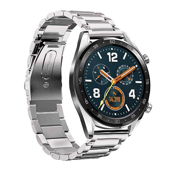 Leafboat Compatible con Correa Huawei Watch GT,22mm Correa metálica Ajustable de Acero Inoxidable Unisex Huawei GT Pulsera de Repuesto para Huawei ...