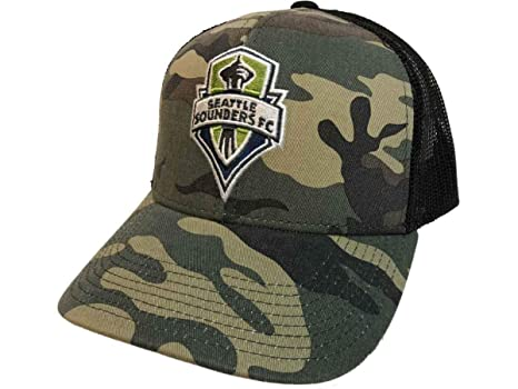 c749690607a Image Unavailable. Image not available for. Color  adidas Seattle Sounders  FC Camouflage Black Mesh Back Snapback Trucker Hat Cap