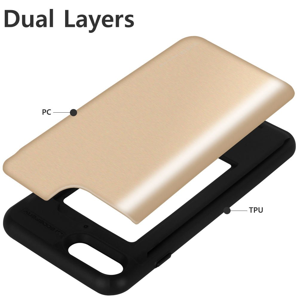 Iphone 8 Plus Case Goospery Sliding Card Holder 7 Sky Slide Bumper Rosegold Protective Dual Layer Tpu Pc Cover With Slot Wallet For Apple