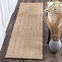 Safavieh Natural Fiber Collection NF401A Hand-Woven Basketweave Natural Jute Runner (23 x 8)