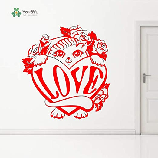 yaoxingfu Vinilo Tatuajes de Pared Amor Bute Gato Animal Dibujos ...