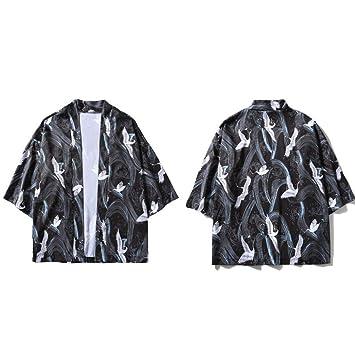 JIAKENVDE Chaqueta Impreso Kimono s de la para Hombre Estilo japón 3/4 Manga Casual Streetwear Abrigos Moda Outwear: Amazon.es: Deportes y aire libre