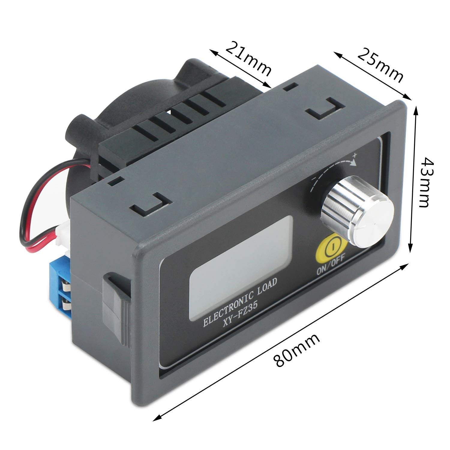 Electronic Load Tester DROK Adjustable Load Resistor Module FZ25 DC 5A 35W Battery Capacity Aging Discharge Detector Constant Current CC Resistance Module with LCD Display and Cooling Fan and Knob