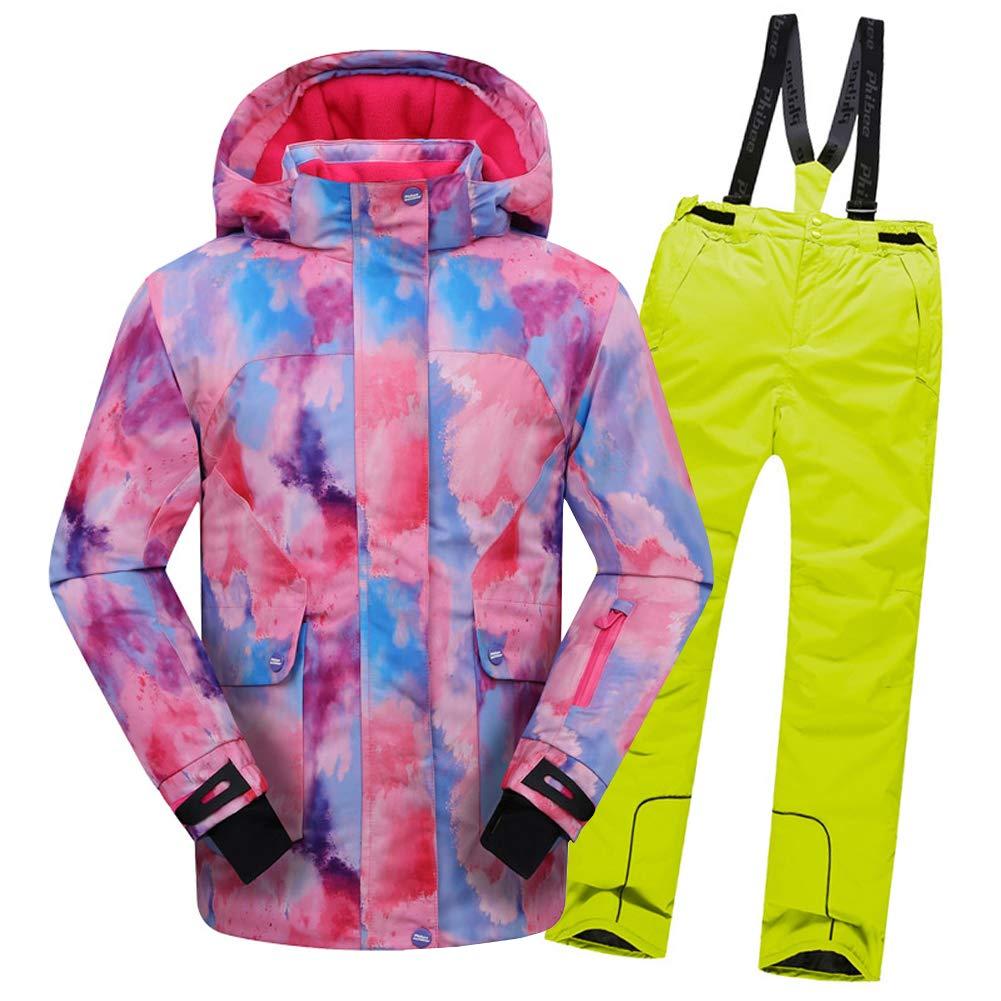 Top Rose+pantalon Jaune 11-12 ans  hauteur recomhommedée 150-160cm LPATTERN Enfant Garçon Fille Combinaison Imperméable de Ski Veste Pantalon épais Ski Doudoune Coupe Hiver 2PCS 2-12ans