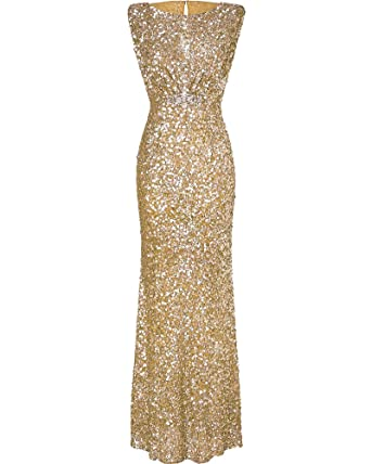 Womens Mermaid Long Evening Dress Formal Prom Sequined Bridesmaid Dresses Gold S