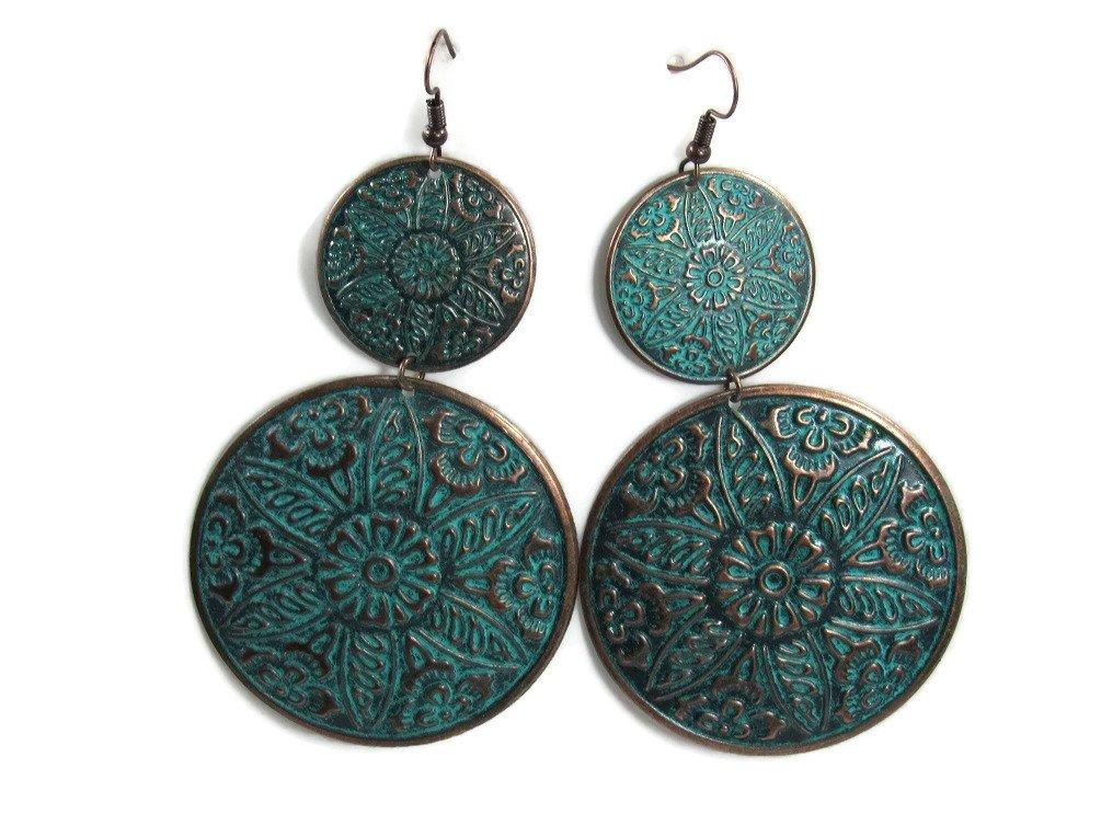 BOLD Dangle Fashion Filagree Metal Styles Statement Earrings Vintage Retro BOHO Patterns (X-Lg Copper Medallions)