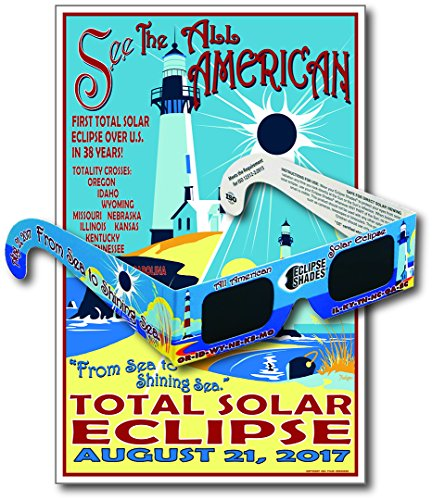 Eclipse Glasses for the 2017 Sea to Shining Sea Eclipse (5 Pack) - CE & ISO Certified - Includes Commemorative Poster - Made in USA by Rainbow Symphony