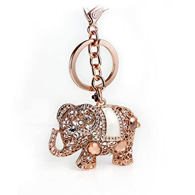 Amazon.com  Dazzle flash Rose Gold Elephant Key Chain Crystal ... 3ddb0d096