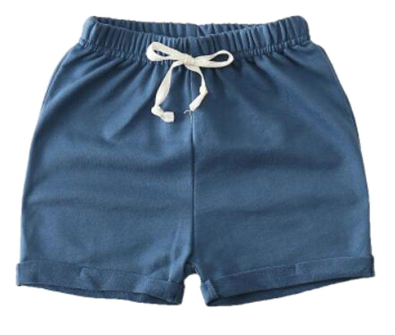 Cromoncent Boys Girls Cotton Elastic Waist Drawstring Cuffed Solid Thin Shorts Dark Blue 7/8