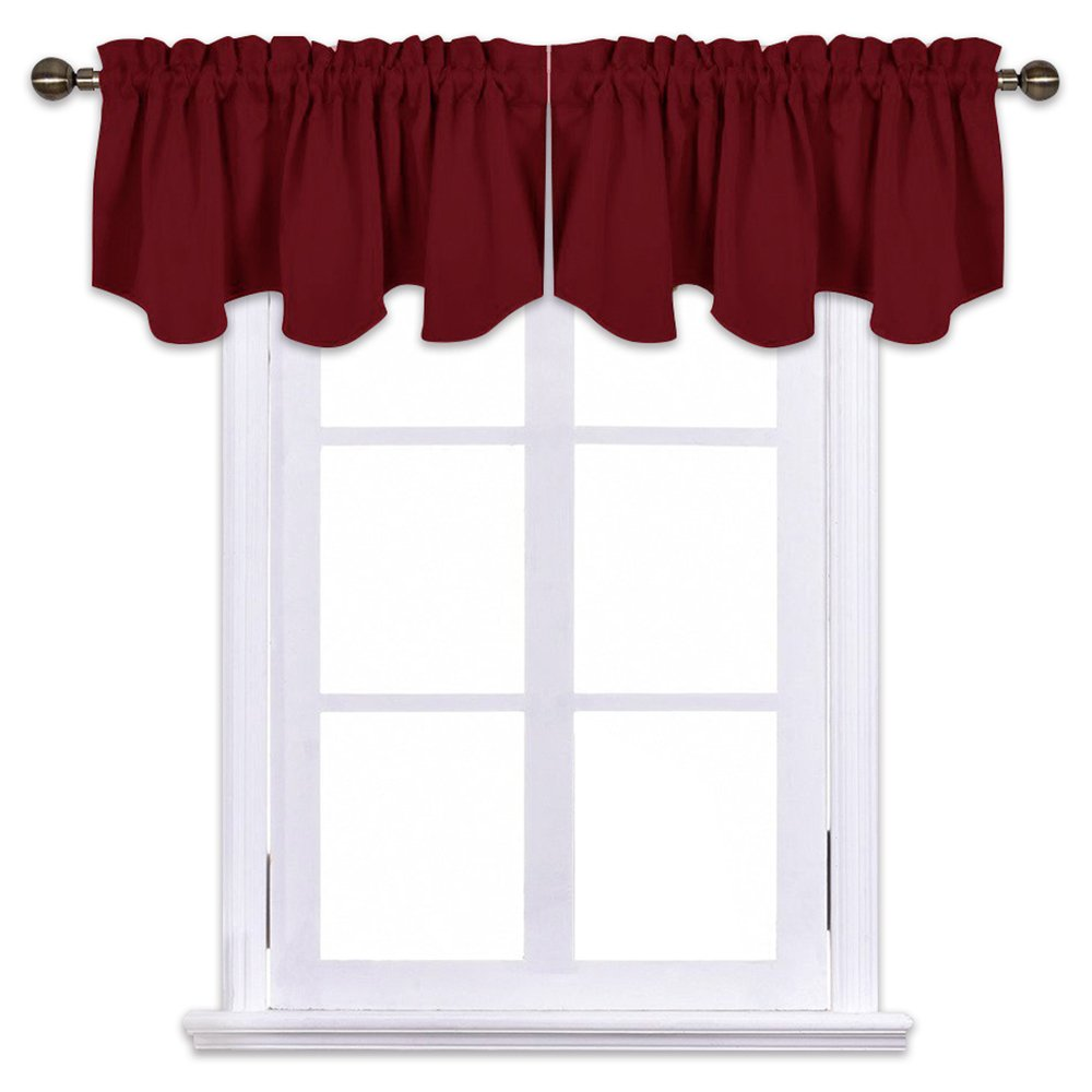 NICETOWN Kitchen Blackout Window Valances - Short 52 inches x 18 inches Scalloped Rod Pocket Valance Curtain Tiers for Christmas & Thanksgiving Gift Window Home Decoration, Burgundy 2 Panels
