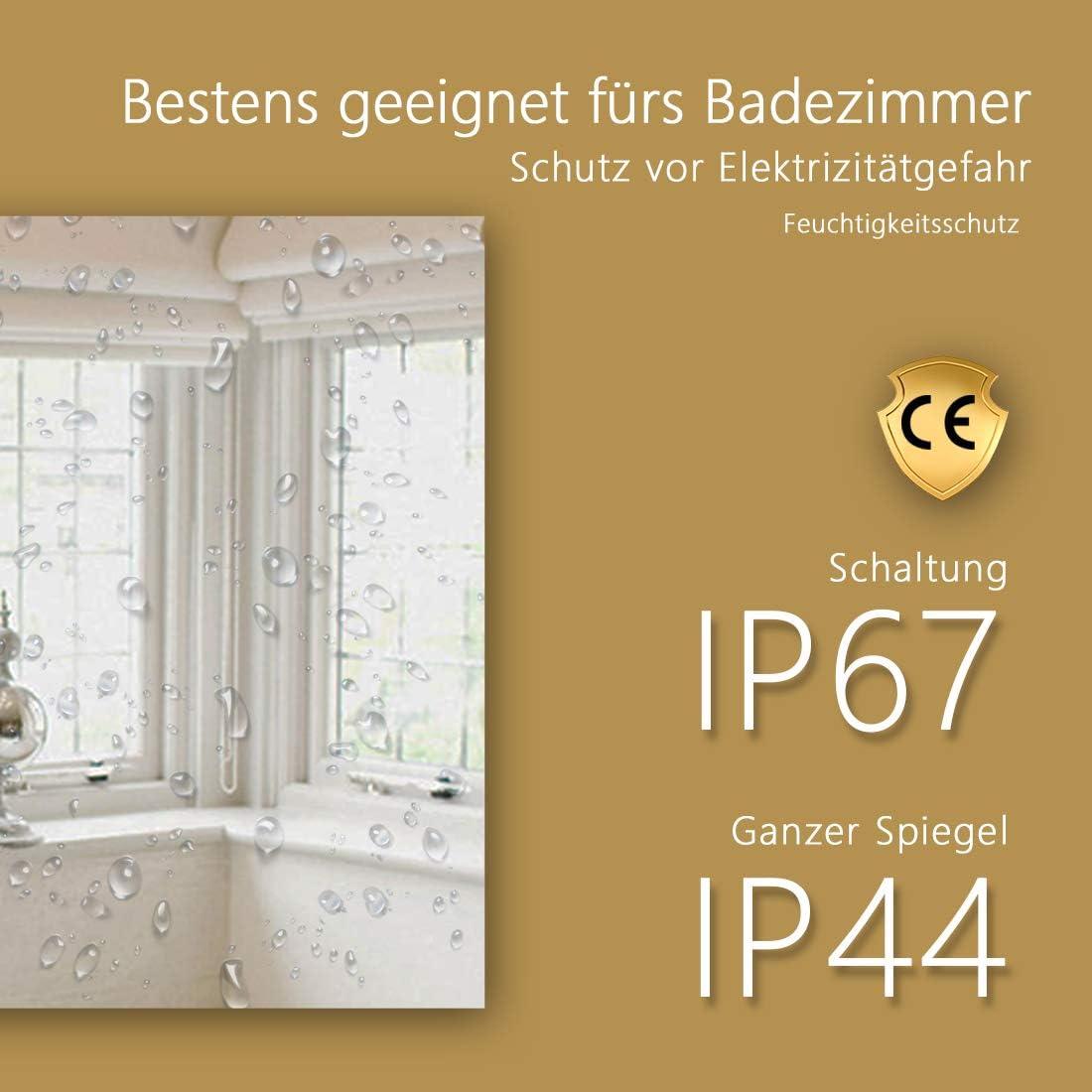 kaltwei/ß LED Beleuchtung Badspiegel 100 x 60 cm Badezimmerspiegel Wandspiegel mit Touchschalter IP44 energiesparend