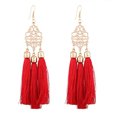 Yazilind Jewellery Vintage Exquisite Tassel Dangle Earrings Women 7jnRUD