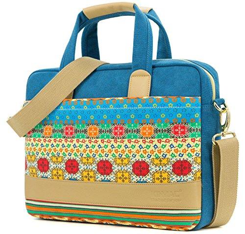 Case Canvas Computer Laptop (Kinmac Canvas laptop case shoulder messenger bag (15 inch & 15.6 inch, Blue-Bohemian Messenger bag))