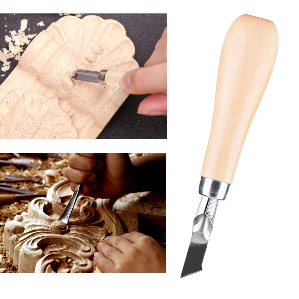 Carpenter Carving Chisel Tool Set Woodwork Sculptural Wood Handle Carving Tools Woodcut Knife Kit with Gouge Spoon Blade