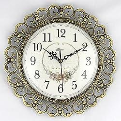 CGGHY 12 Inch Wall Clock Modern European Style Pastoral Quartz Watch Living Room Bedroom Gold Japan Super Quiet Movement 12 Inch Wall Clock Metal Wall Clock Bronze