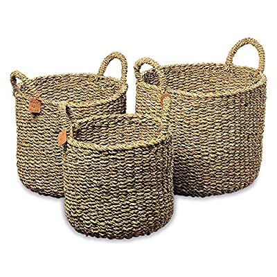 The Made by Nature Seagrass Baskets With Round Top Handles, Natural Chunky Sweater Weave, Set of 3, Made by Hand, From Over 1 ½ Ft Tall to 1Ft 2 Inches, Ideal for Storage, By Whole House Worlds - BRING ORGANIC STYLE COASTAL CHARM TO YOUR HOME! Our Made By Nature Round Chunky Weave Seagrass Baskets with Top Handles provide extraordinary warmth and texture to any space. Crafted by hand of finely woven seagrass, these handy and eye-catching baskets score extra points for being an organizational tool for everyday living. Use them to easily stow away towels, toys, shoes, and stuff you need in quick reach. GREAT SIZES These generous, thick, and chunky seagrass baskets are range in size as follows: Large: 15 ¾ L x 15 ¾ W x 16 ½, Medium: 13 ¾ L x 13 3/4x 15 ¾ H, Small: 11 ¾L x 11 ¾W x 14 5/8H inches. MADE BY NATURE Natural seagrass is a durable material that seems to have limitless uses, due to its hard-wearing strength and chic texture. At first glance, it almost appears as if it's a solid color, when in fact it features a beautiful pattern of many natural tones. Our baskets have been made of carefully chosen sustainably harvested seagrass and made with highest quality standards. - living-room-decor, living-room, baskets-storage - 61SOPmFMWDL. SS400  -