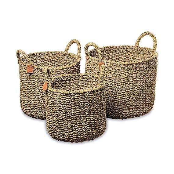 WHW Whole House Worlds Made by Nature Seagrass Baskets, Round Top Handles, Natural Chunky Sweater Weave, Set of 3, Made… - BRING ORGANIC STYLE COASTAL CHARM TO YOUR HOME Our Made By Nature Round Chunky Weave Seagrass Baskets with Top Handles provide extraordinary warmth and texture to any space. Crafted by hand of finely woven seagrass, these handy and eye-catching baskets score extra points for being an organizational tool for everyday living. Use them to easily stow away towels, toys, shoes, and stuff you need in quick reach. GREAT SIZES These generous, thick, and chunky seagrass baskets are range in size as follows: Large: 15.75 L x 15.75 W x 16.5 Medium: 13.75 L x 13.75 x 15.75 H, Small: 11.75 L x 11.75 W x 14.5 H inches. MADE BY NATURE Natural seagrass is a durable material that seems to have limitless uses, due to its hard-wearing strength and chic texture. At first glance, it almost appears as if it's a solid color, when in fact it features a beautiful pattern of many natural tones. Our baskets have been made of carefully chosen sustainably harvested seagrass and made with highest quality standards. - living-room-decor, living-room, baskets-storage - 61SOPmFMWDL. SS570  -