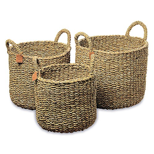 WHW Whole House Worlds Made by Nature Seagrass Baskets, Round Top Handles, Natural Chunky Sweater Weave, Set of 3, Made by Hand, from Over 1 ½ Ft Tall to 1 Ft 2 Inches, Ideal for Storage