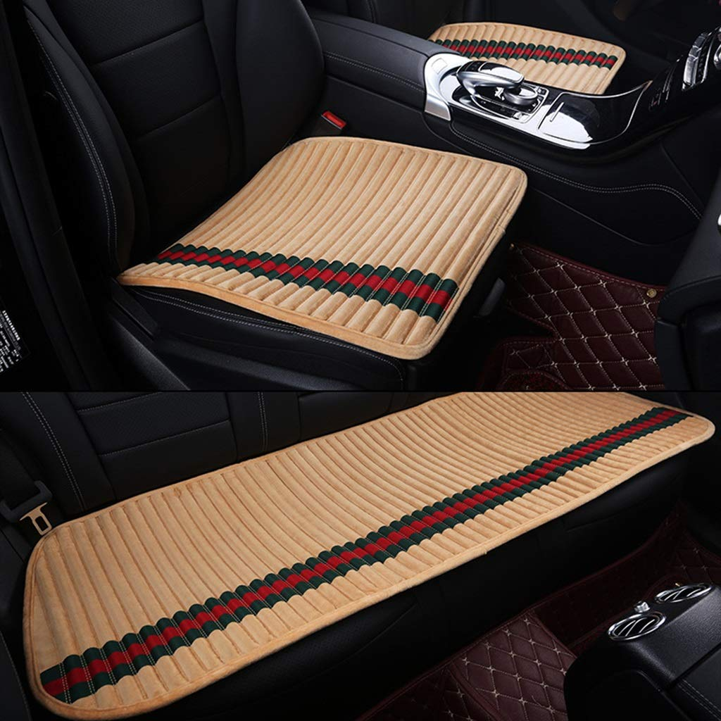Auto Seat Cushion Three-Piece Auto Seat Cushion, vier Seasons Universal Yellow Jingzi Breathable Non-Slip Cushion,3 Pack Thicken Front und Rear Auto Seat Cushion (Color : Natural)