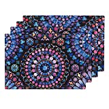 Roostery Stained Glass 4pc Eco Canvas Cloth Placemat Set - Rose Window Cathedral Water Color Watercolour Water Colour Tiedye by Logan Spector (Set of 4) 13 x 19in