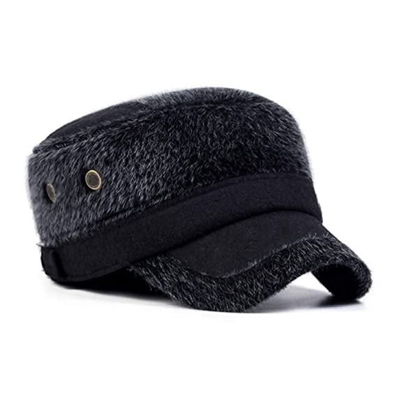 Amazon.com: Fur Mens Hat Winter Protect Head Caps Gorras Fashion Flat Top Casquettes Black: Clothing