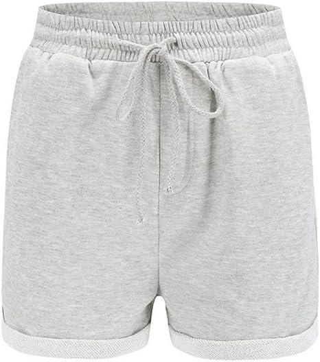 NSDKFF Pantalones Cortos De Mujer Verano Mujer Shorts Shorts De Algodón Elástico Casual Femenino Shorts De Cintura Alta: Amazon.es: Deportes y aire libre