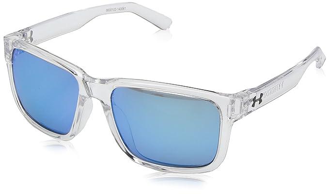e82c427f60dc Under Armour UA Rookie Wayfarer Sunglasses, UA Rookie Shiny Crystal Clear  Frame / Gray / Blue Multiflection Lens, 51 mm: Amazon.co.uk: Clothing