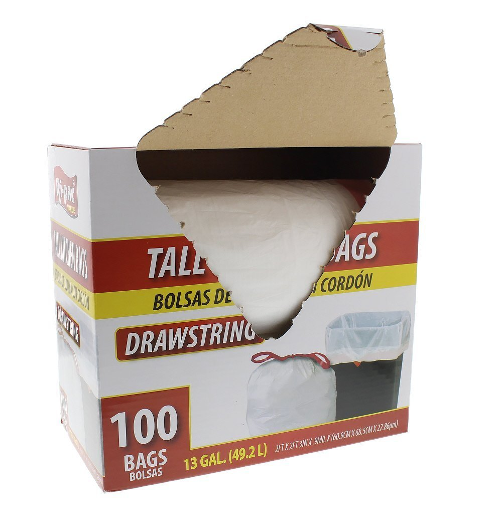 Ri Pac Tall Kitchen Drawstring Trash Bags - White - 100 Count - 13 Gallon - Kitchen
