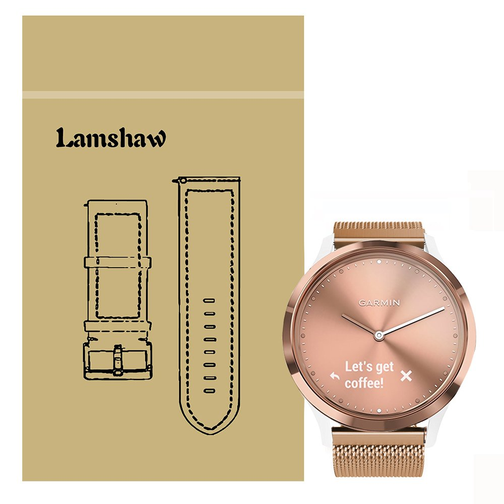 Lamshaw Smartwatch Bands for Garmin Vivomove HR, Magnetic Milanese Loop Stainless Steel Magnet Closure Lock Band for Garmin Vivomove HR/Garmin Vivoactive 3 Band (Rose Gold)