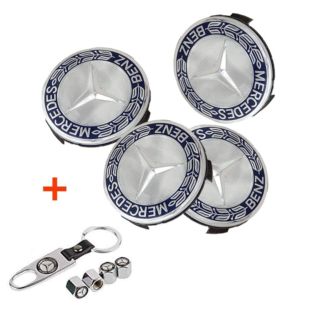 Luckily 4PCS 75mm//2.95 Wheel Center Hub Logo Caps Covers for Mercedes Benz with Bonus 4PCS Tire Valve Cover and 1 PC Keychain Fit for Benz