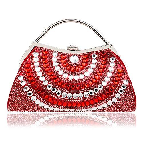 Boda Maybesky Mujer Bolso Negro Chica Imitación Rojo Dama De Cristal Perlas Embrague color Honor Diamantes Para Noche BCBwvxrq0