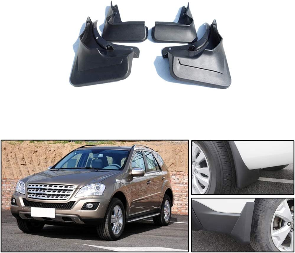 Without Running Board 4Pcs Maite Car Front and Rear Mud Flaps Splash Guards Fender Mudguard for Mercedes Benz W164 ML Class 2007-2011
