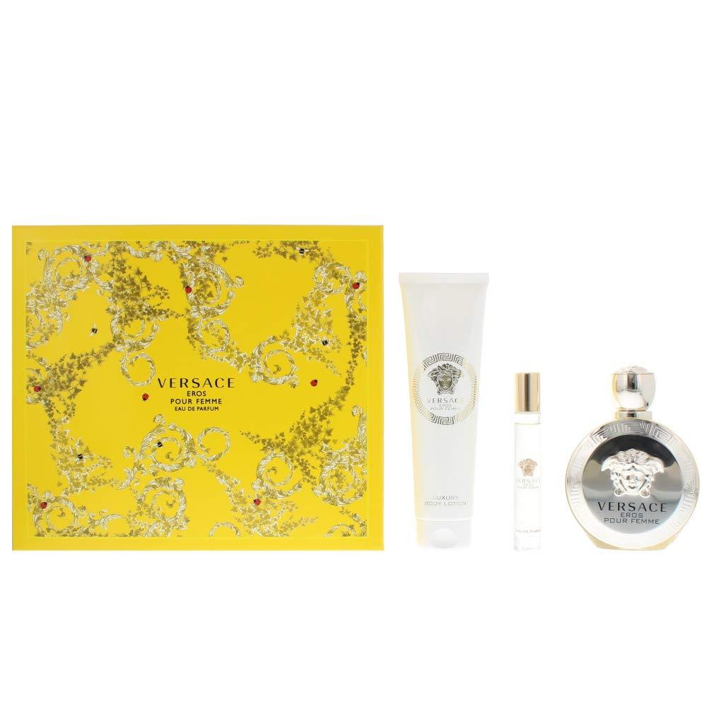 Versace Eros Pour Femme 3 Pieces Hard Box Set (3.4 Oz Eau De Parfum/ 5.0 Oz Luxury Body Lotion / 10ML Eau De Parfum Roll)