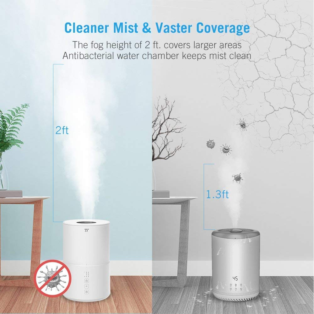 TaoTronics Top Fill Ultrasonic Humidifier, Cool Mist Humidifier & Oil Diffuser Humidifier for Bedroom Baby SPA Yoga with 20H Working Time, No Filter, Waterless Auto Shut Off -(2L/0.53 Gallon, US 110V) by TaoTronics (Image #3)