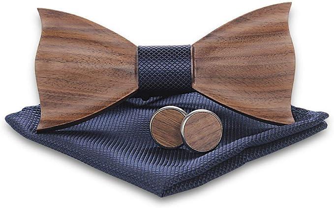 4Pcs Herren Hemd Krawatte Holz Handgemachte Bowtie Fliege Taschentuch Fliege DE