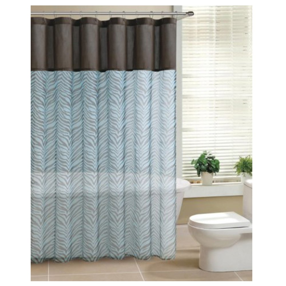 Amazoncom Brown Teal Zebra Print Sheer Fabric Shower Curtain - Brown and turquoise shower curtain