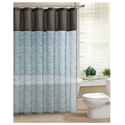 Brown Teal Zebra Print Sheer Fabric Shower Curtain