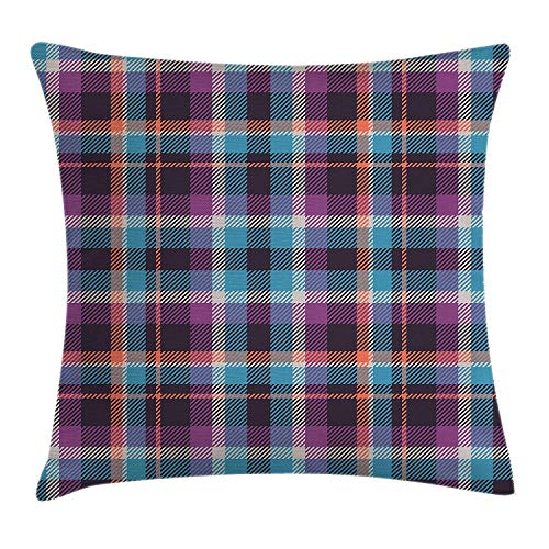 Checkered Throw Pillow Cushion Cover, Celtic Tartan Irish Culture Scotland Country Antique Tradition Tile, Decorative Square Accent Pillow Case, 18 X 18 inches, Violet Light Blue Salmon]()