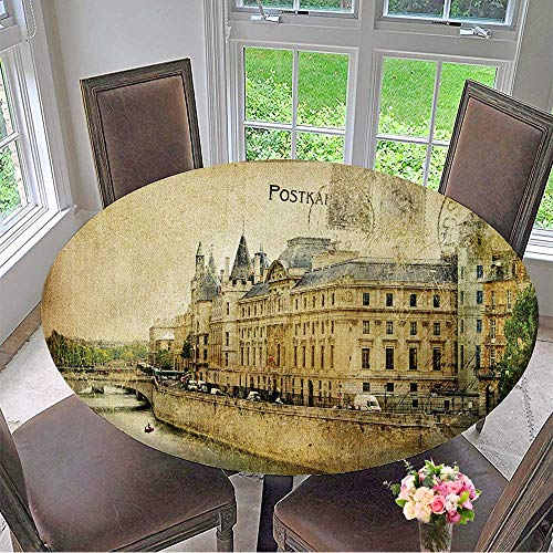 Mikihome Luxury Round Table Cloth for Home use Vintage Parisian Cards Series for Buffet Table, Holiday Dinner 35.5