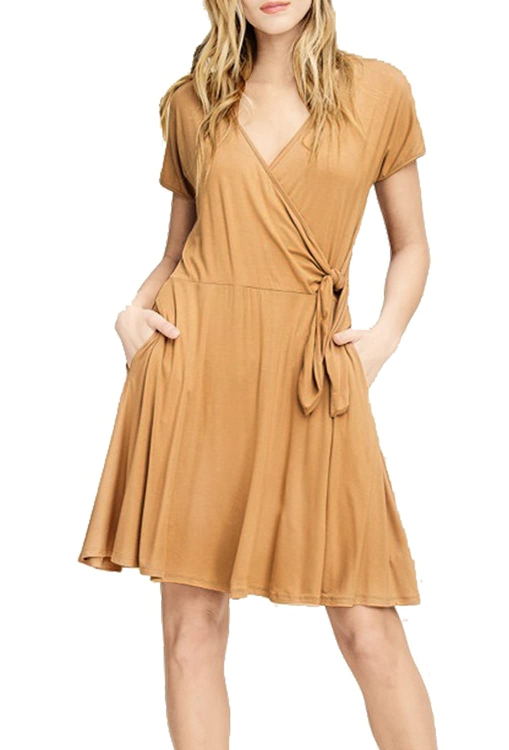 6befb1a5892d Simple summer knit wrap dress with pockets. Lightweight, airy and  comfortable for hot summer days. Quaint details include a v-neckline, short  sleeves and a ...