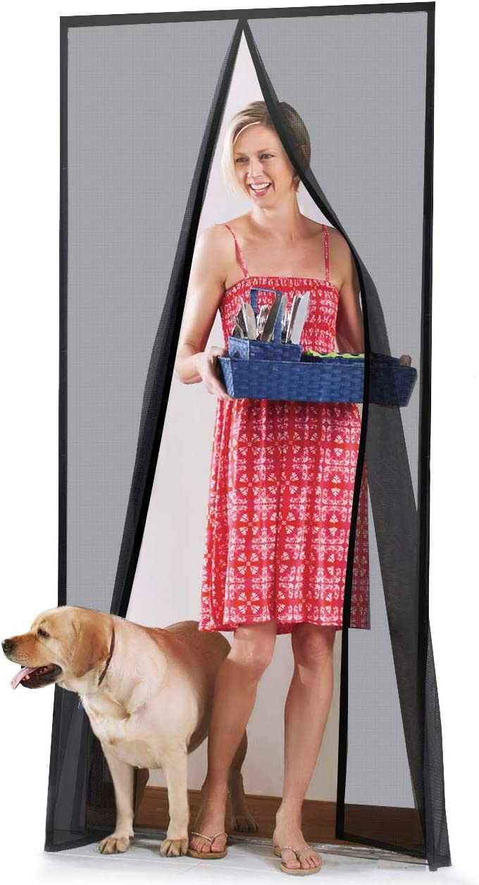 "Homitt [Upgraded Version] Magnetic Screen Door with Durable Fiberglass Mesh Curtain and Full Frame Hook & Loop Fits Door Size up to 36""x82"" Max"