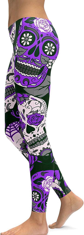 Women's Sugar Skull Printed Leggings Brushed Ankle Length Tights