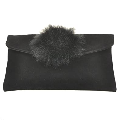 Beautiful Faux Fur Pompom Small Envelope Purse Clutch Bag 0cd1e4b5f55b6