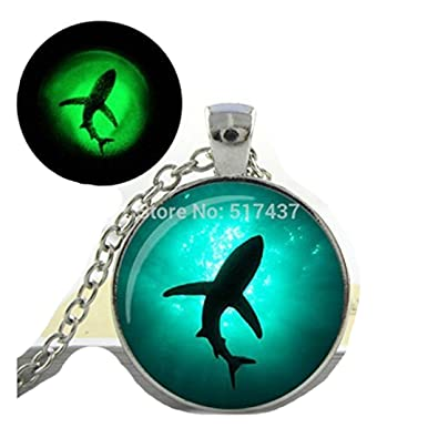 Glowing necklace pendant shark necklace vintage shark necklace art glowing necklace pendant shark necklace vintage shark necklace art photo glass glowing necklace glow aloadofball Images