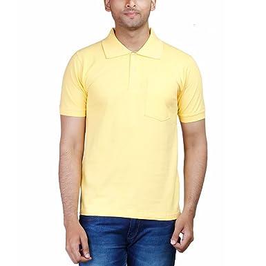 bd3e8f51b FLEXIMAA Men's Cotton Polo Collar T-Shirt with Pocket Yellow Color  (cfpyell-s