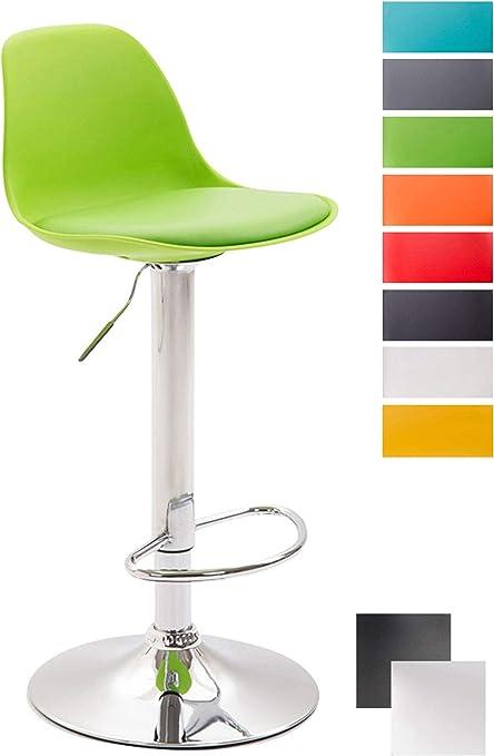 CLP Tabouret de Bar Design Kiel Assise en Similicuir Chaise de Bar avec Dossier Plastique Repose Pied Tabouret Ergonomique Hauteur Réglable