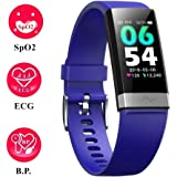 V19 Blood Oxygen SpO2 Heart Rate Monitor Blood Pressure Fitness Activity Tracker with Low O2 reminder, IP68 Waterproof Smart Watch with HRV Sleep Health Monitor Smartwatch for Android iOS phone (Blue)