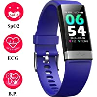 V19 Dual-HR Fitness Activity Tracker with ECG Heart Rate Monitor Blood Pressure Oxygen Saturation SpO2 Oximeter Sleep Health Tracker,IP68 Waterproof Smart Watch Sports Smartwatch for Android iOS phones