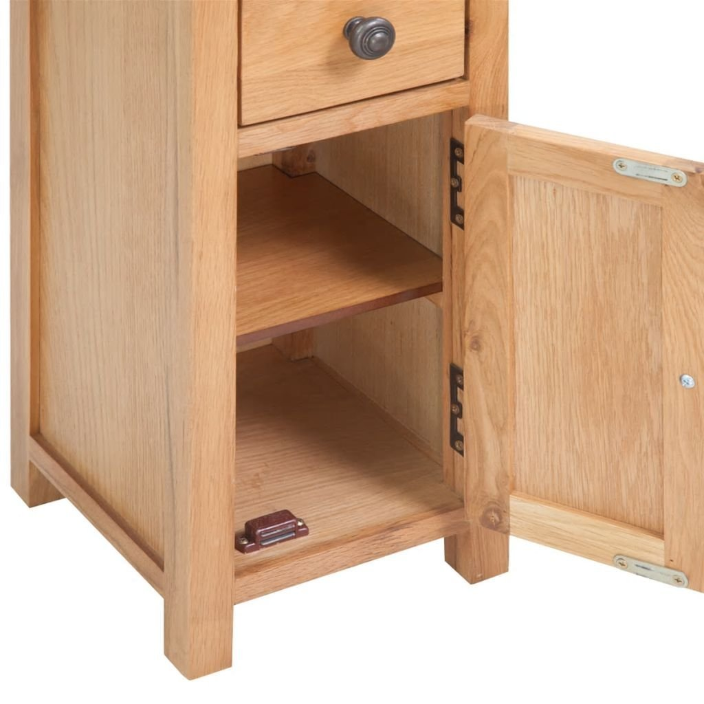 vidaXL Solid Oak Corner Cabinet Storage Display Unit Shelf Cupboard Room Brown
